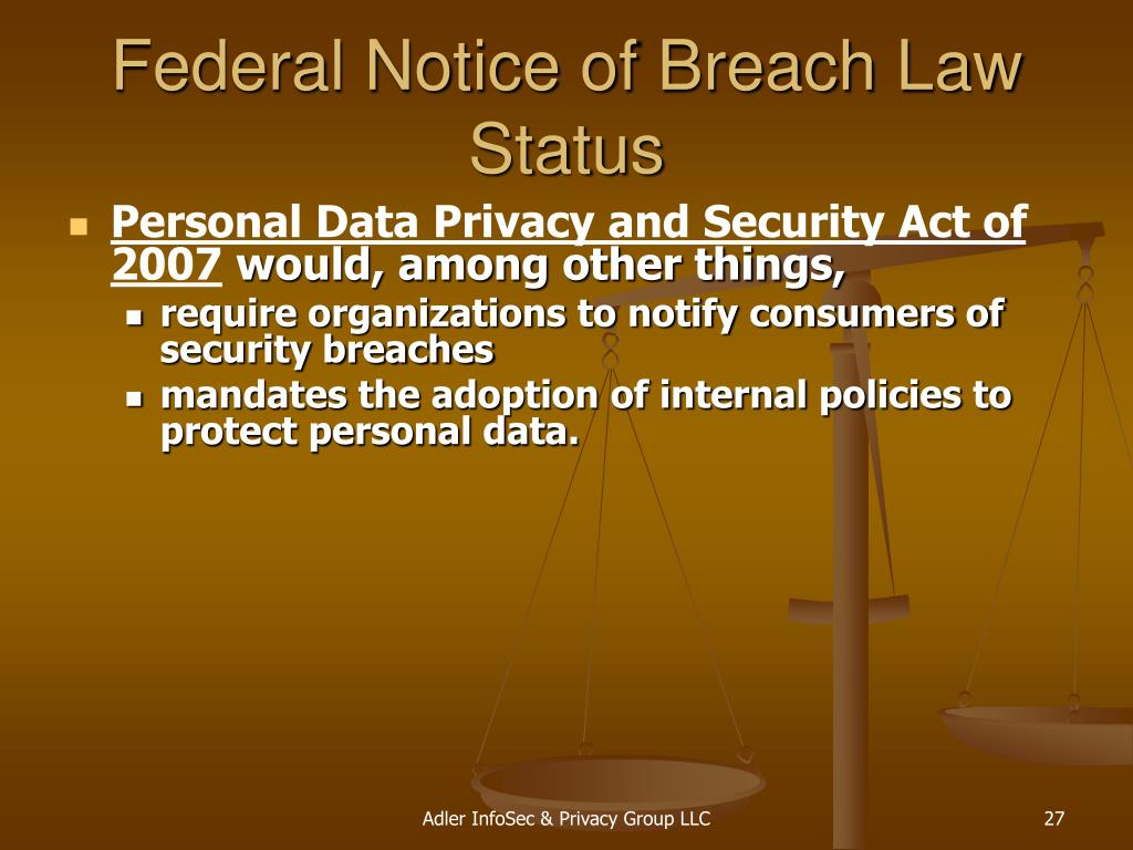 Federal Notice of Breach Law Status