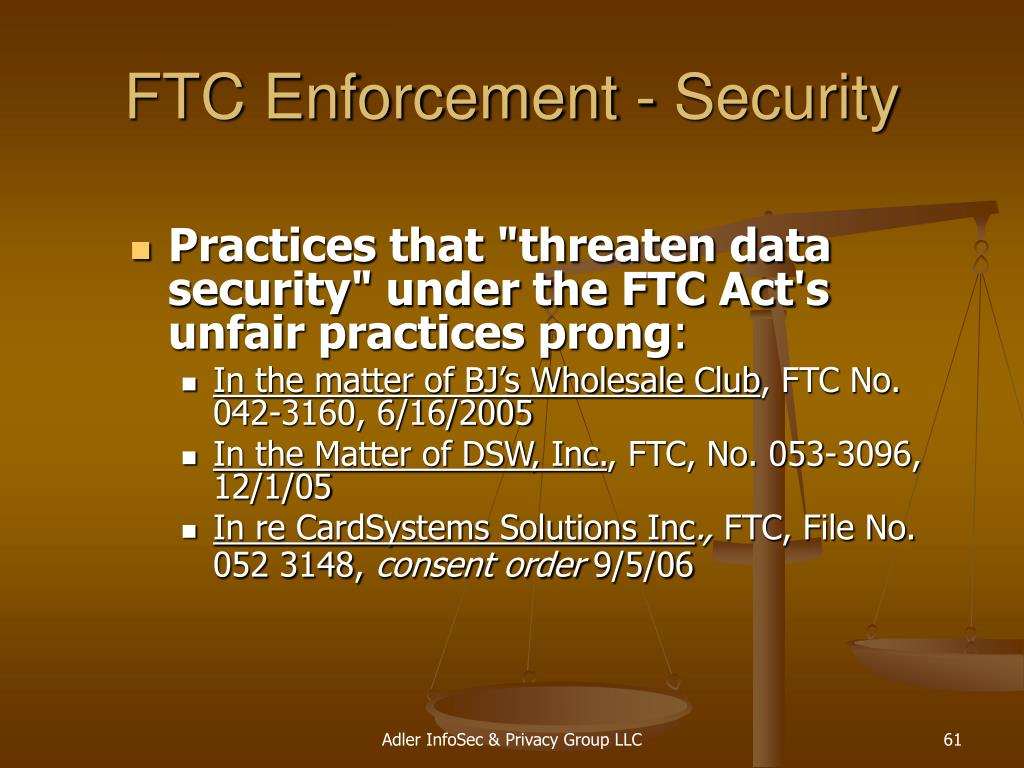FTC Enforcement - Security