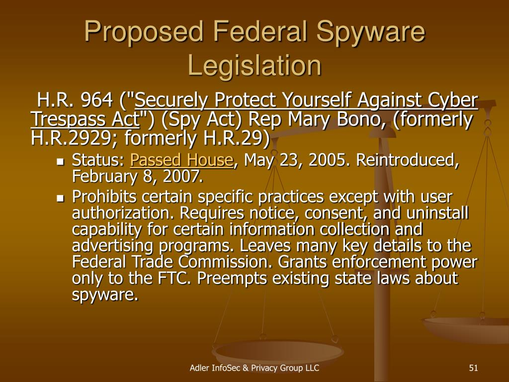 Proposed Federal Spyware Legislation