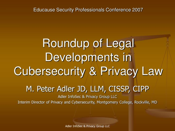 Roundup of legal developments in cubersecurity privacy law l.jpg