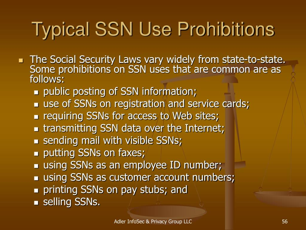Typical SSN Use Prohibitions