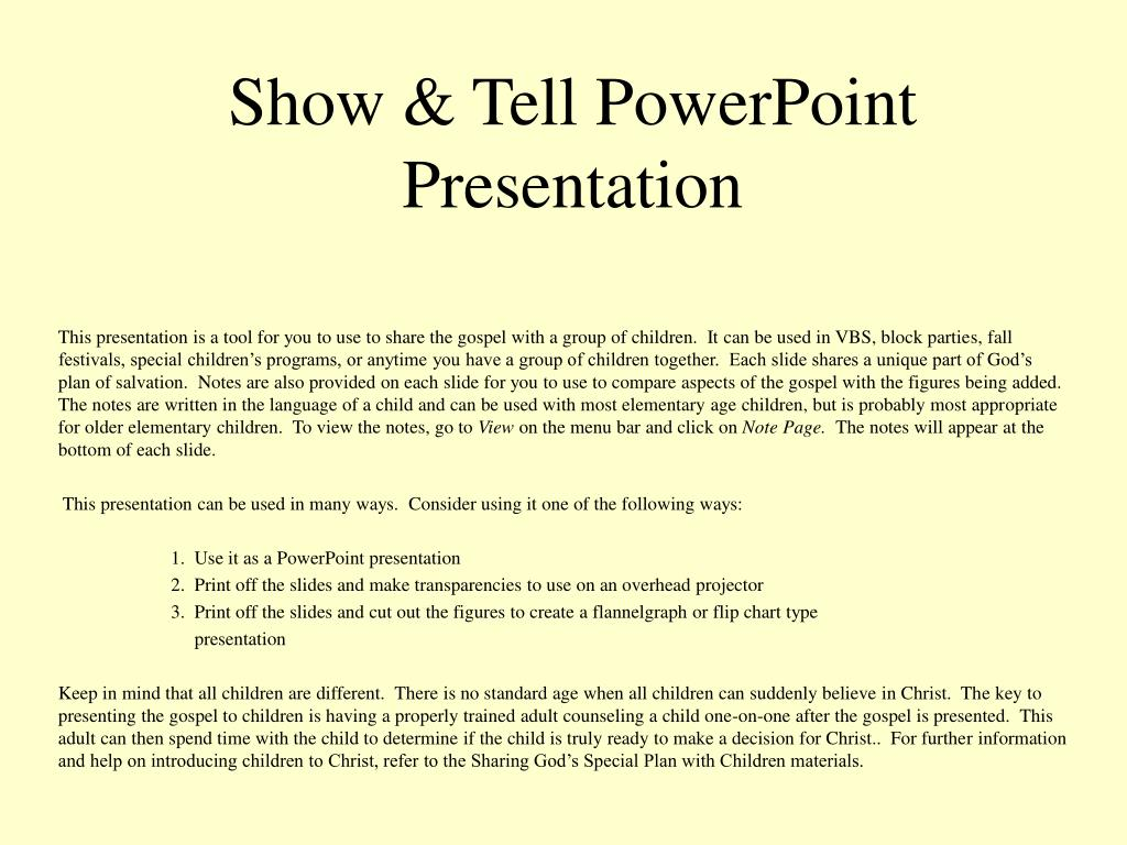 Show & Tell PowerPoint Presentation