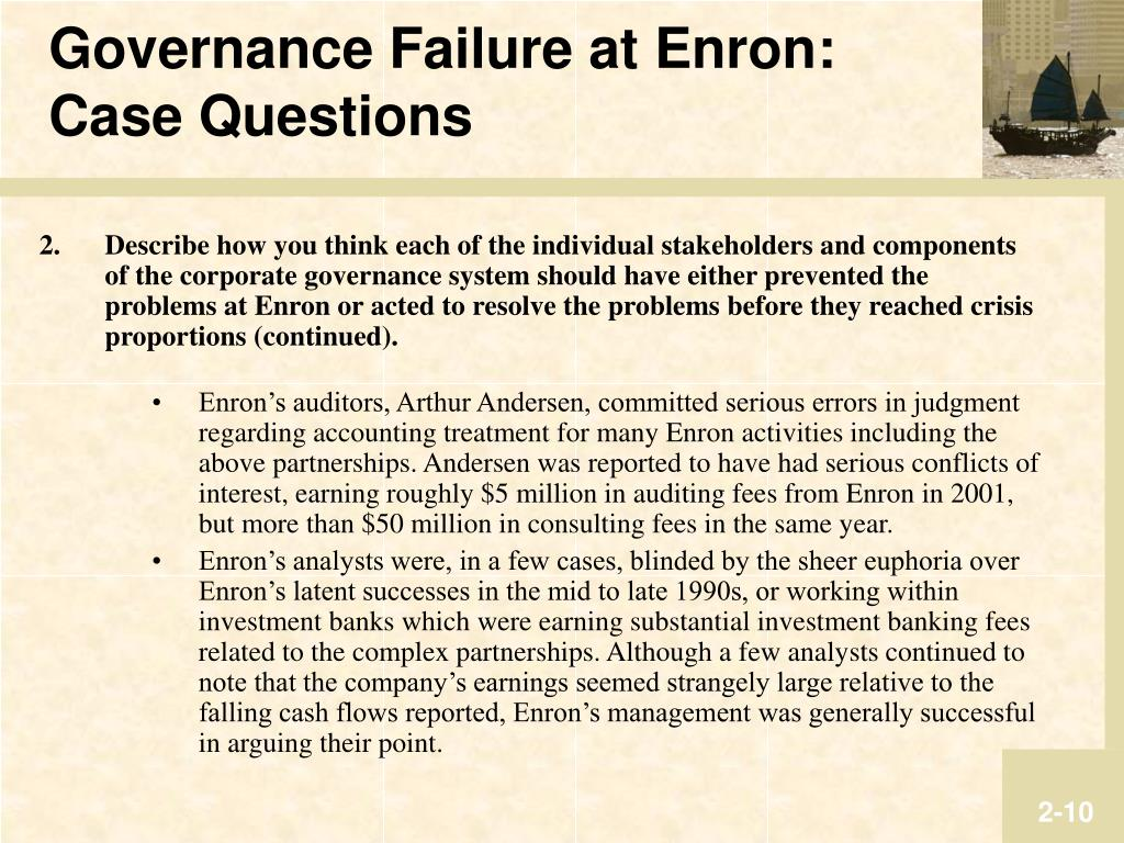 enrons problem Thank you senator leahy for calling this hearing i agree there are lessons that we can learn from enron's collapse, particularly with respect to accountability issues.