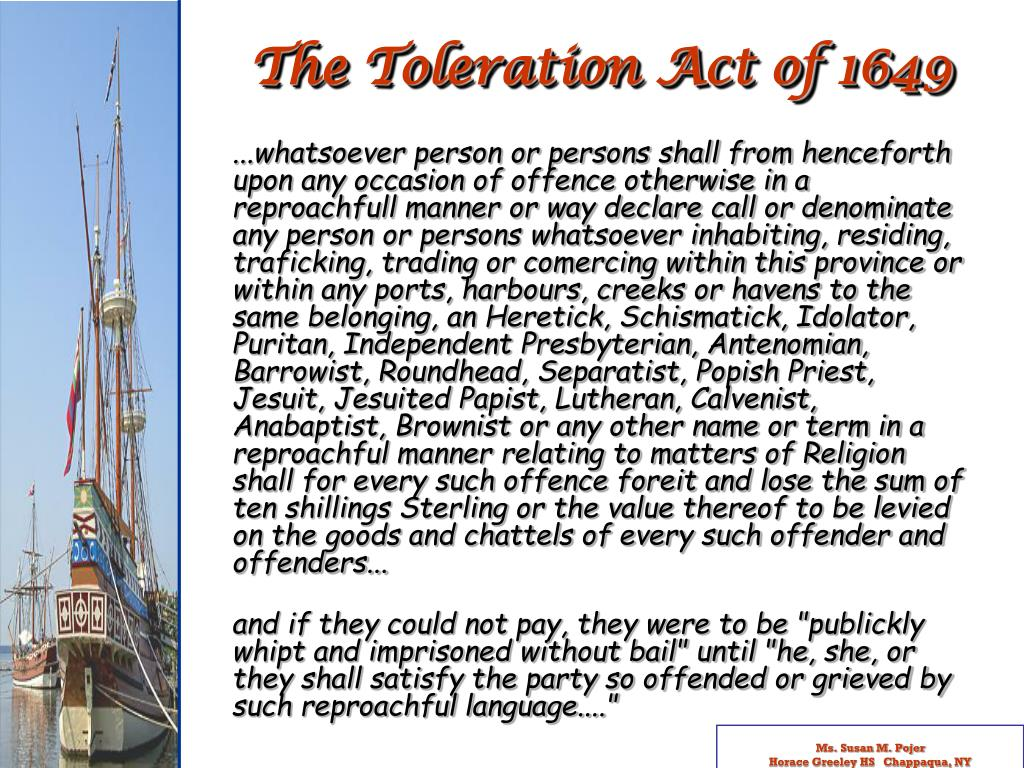 The Toleration Act of 1649