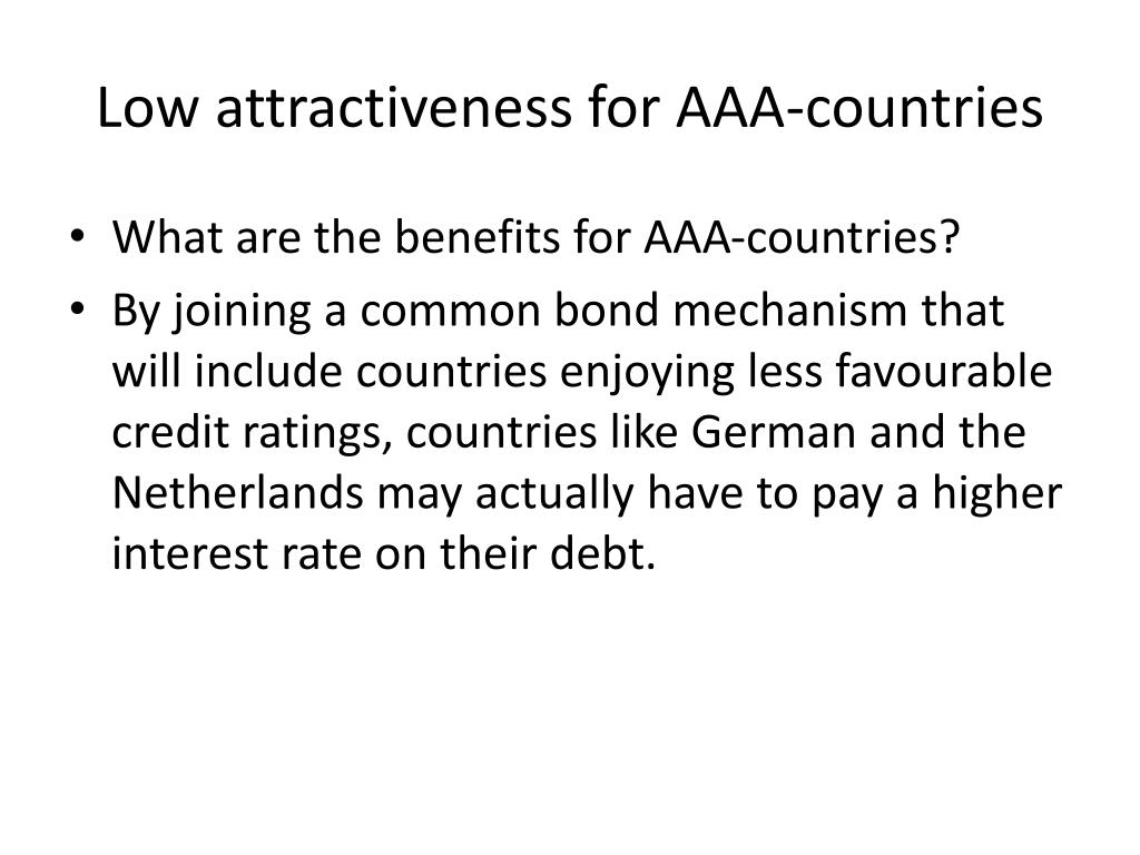 Low attractiveness for AAA-countries