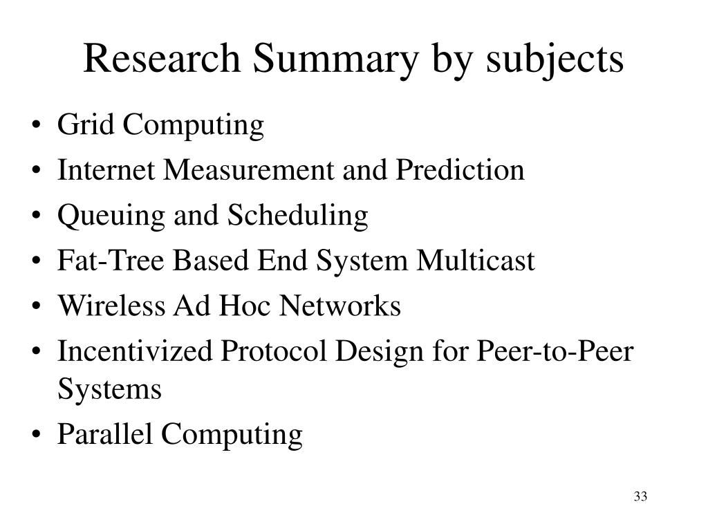 Research Summary by subjects