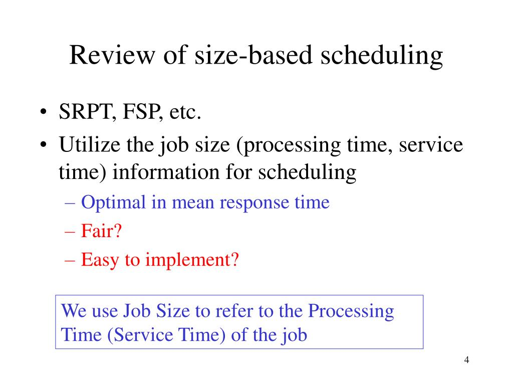 Review of size-based scheduling