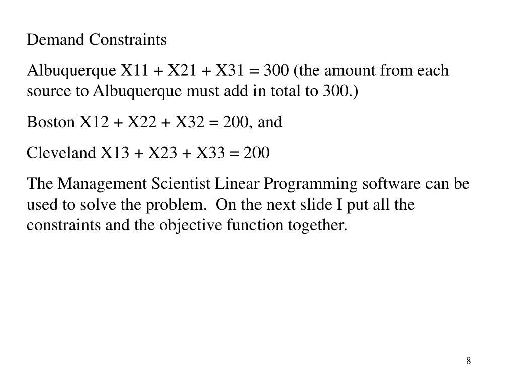 Demand Constraints