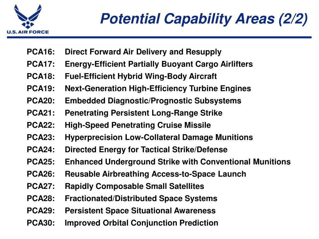 Potential Capability Areas (2/2)