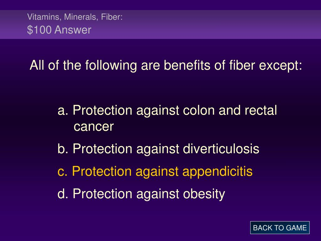 Vitamins, Minerals, Fiber: