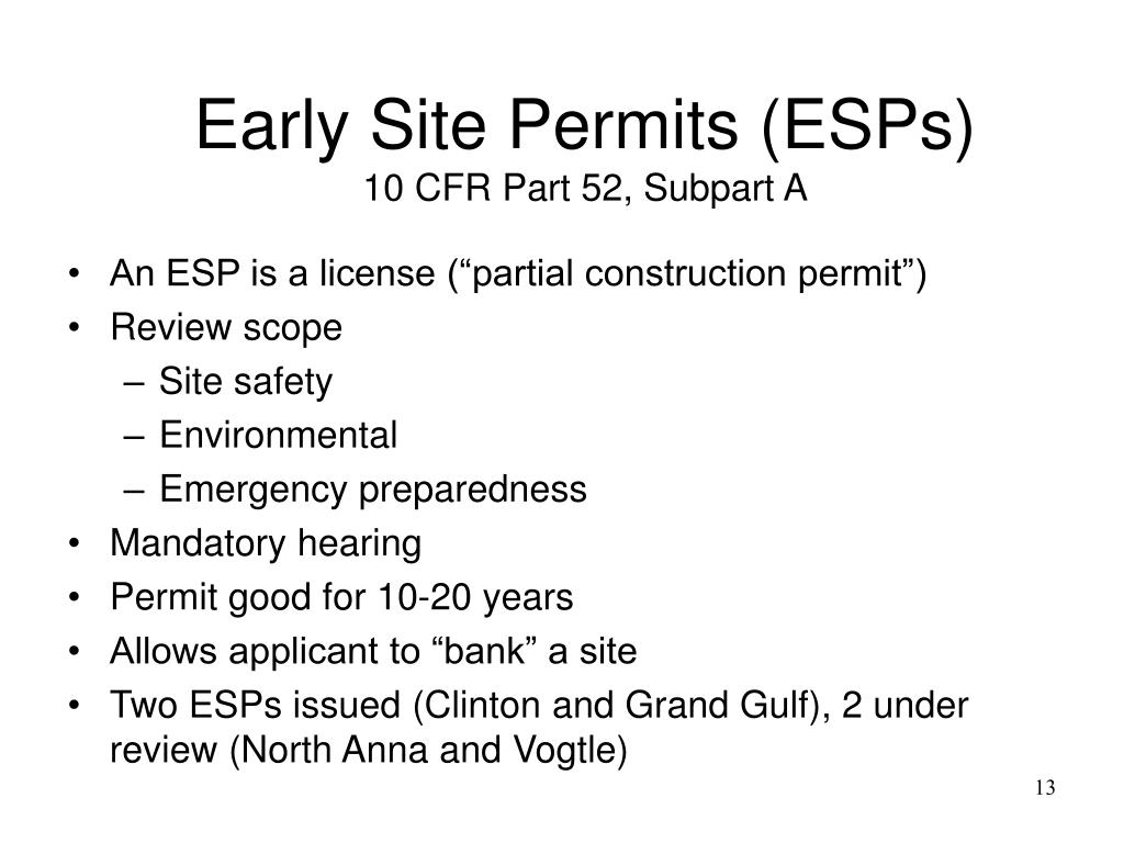 Early Site Permits (ESPs)