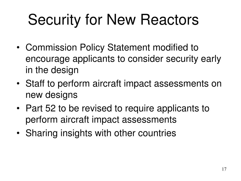 Security for New Reactors