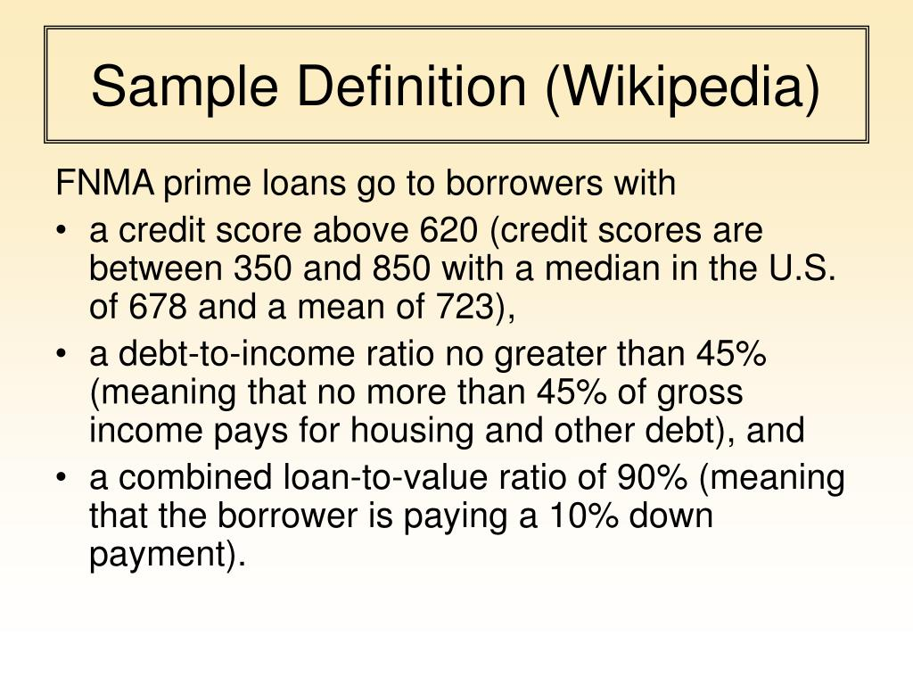 Sample Definition (Wikipedia)