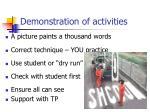 demonstration of activities