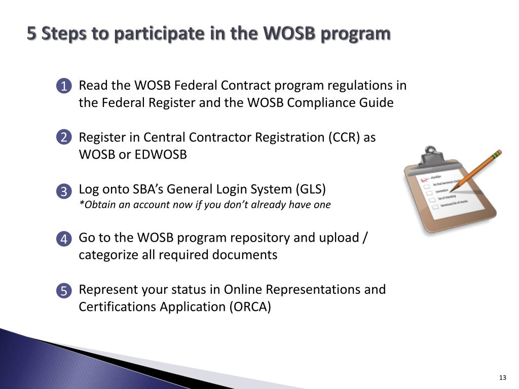 5 Steps to participate in the WOSB program