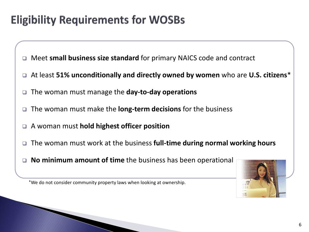 Eligibility Requirements for WOSBs