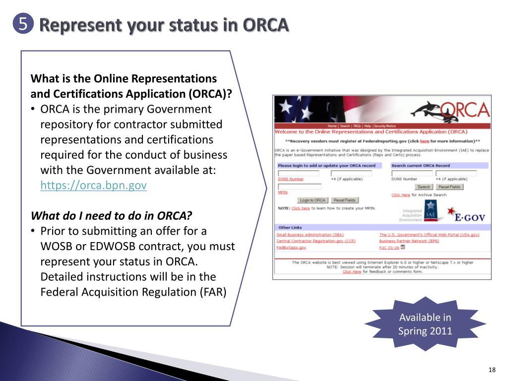 Represent your status in ORCA