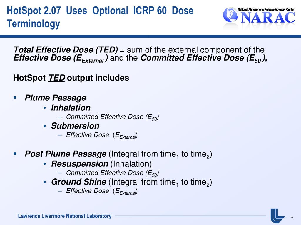 HotSpot 2.07  Uses  Optional  ICRP 60  Dose Terminology
