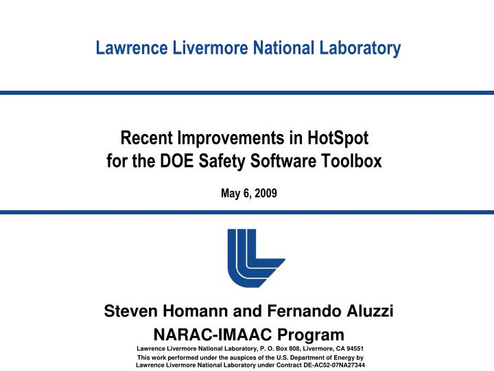 Recent improvements in hotspot for the doe safety software toolbox l.jpg