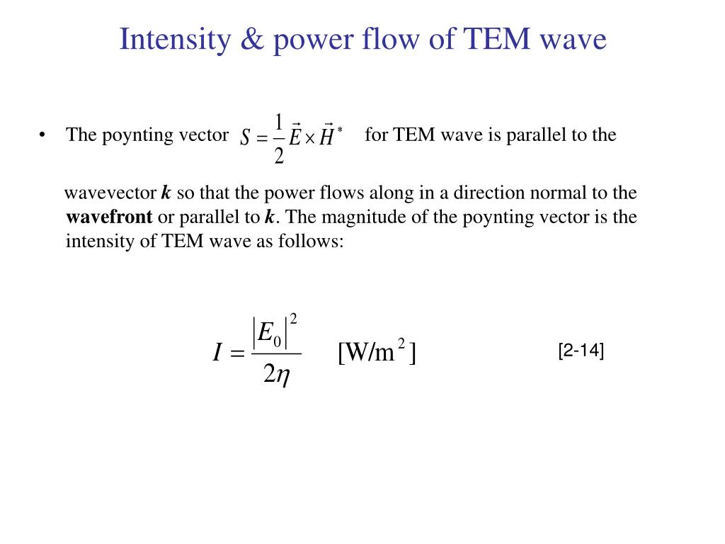 Intensity & power flow of TEM wave