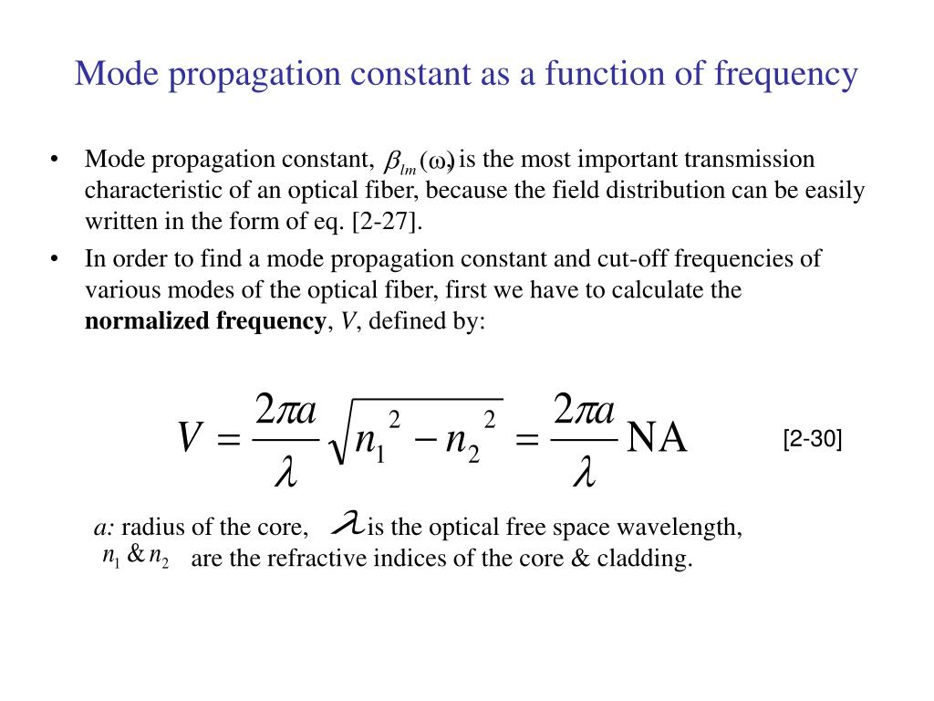Mode propagation constant as a function of frequency