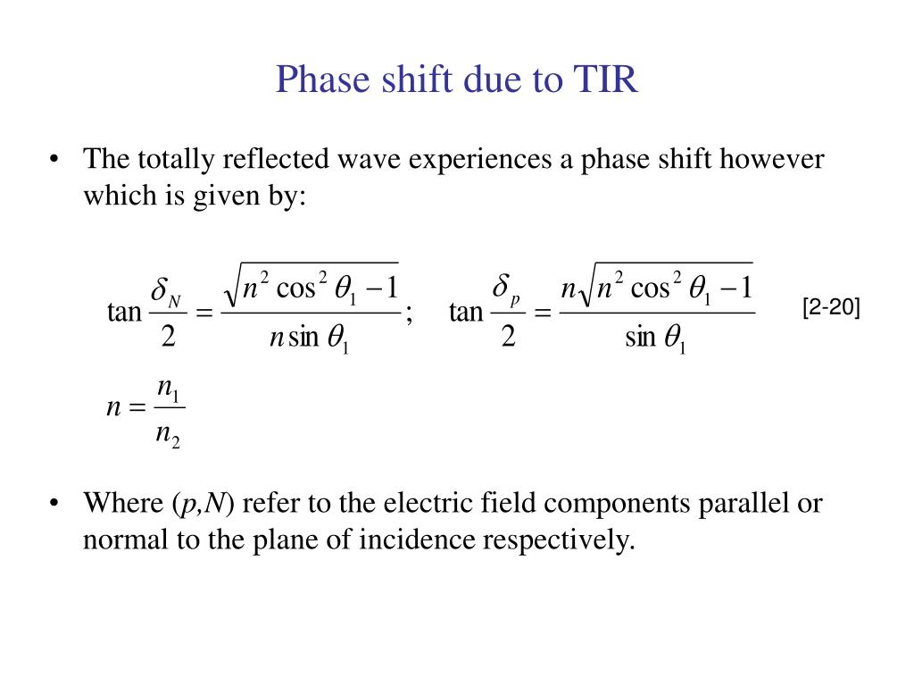 Phase shift due to TIR