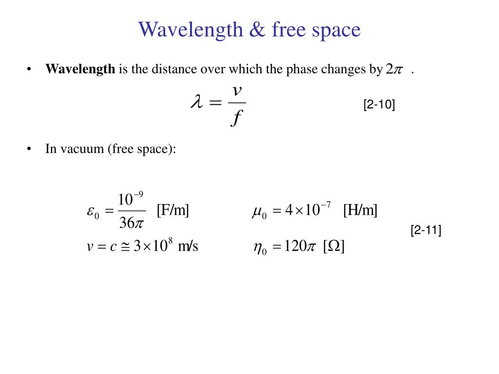 Wavelength & free space