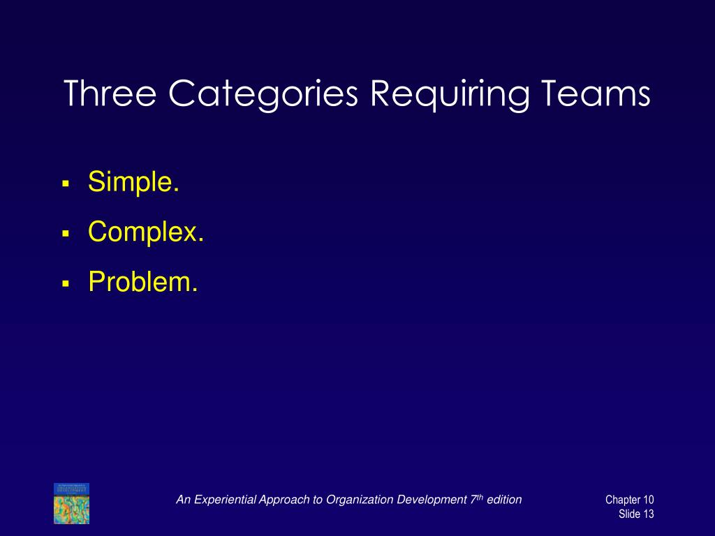 Three Categories Requiring Teams