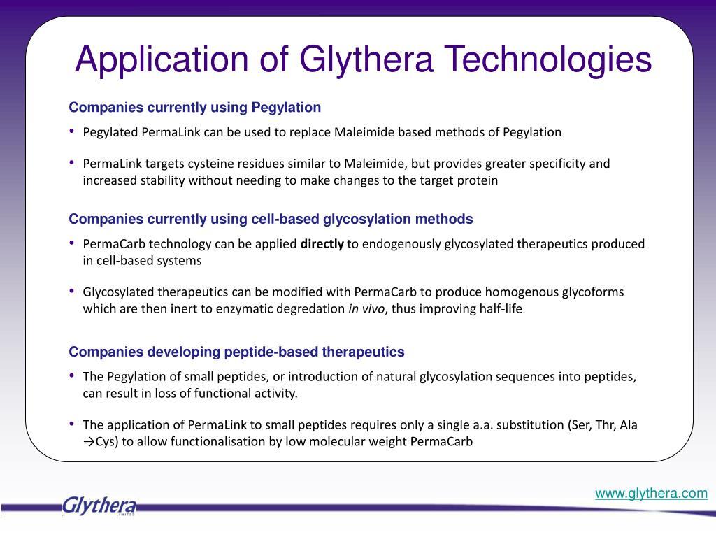 Application of Glythera Technologies