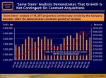 same store analysis demonstrates that growth is not contingent on constant acquisitions