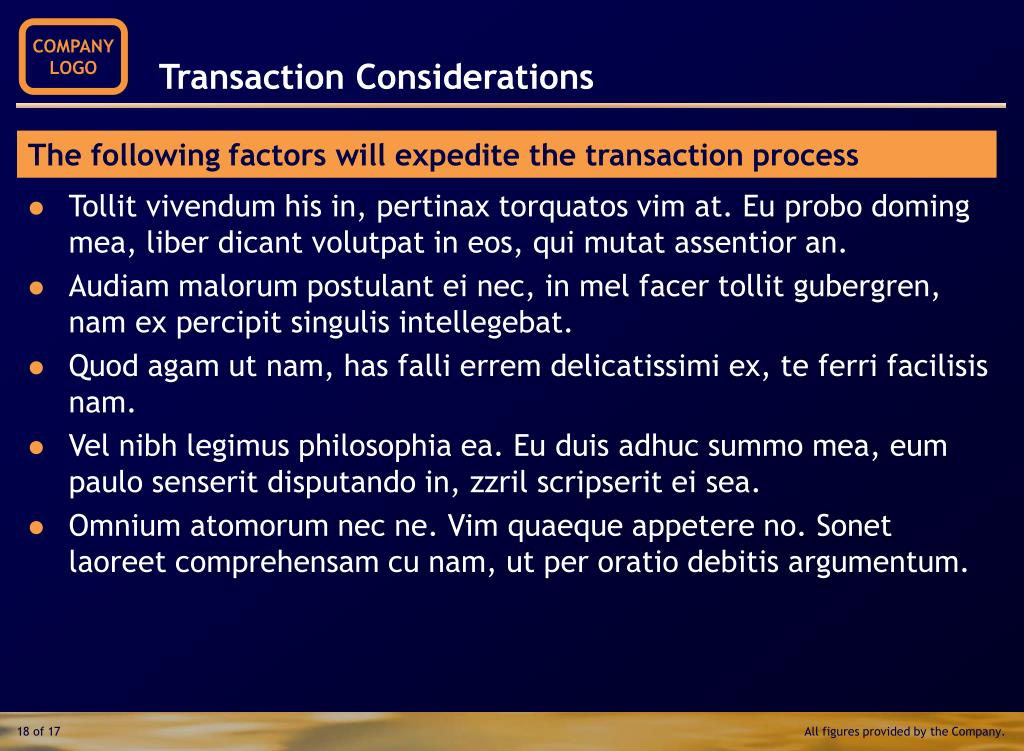 Transaction Considerations