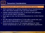 transaction considerations