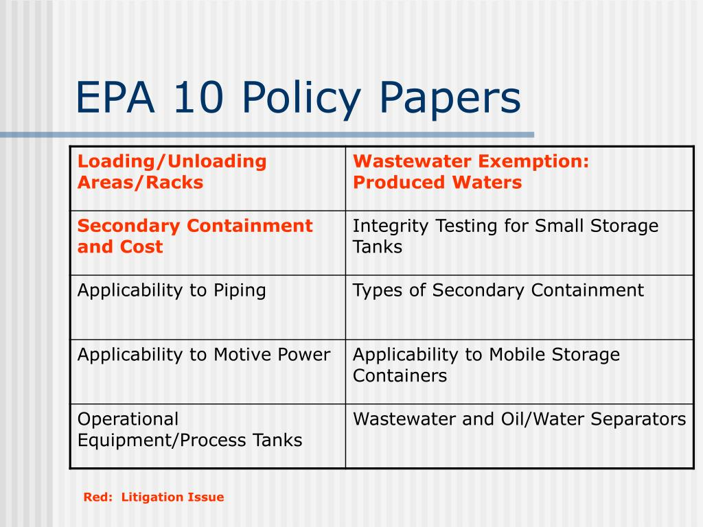 EPA 10 Policy Papers