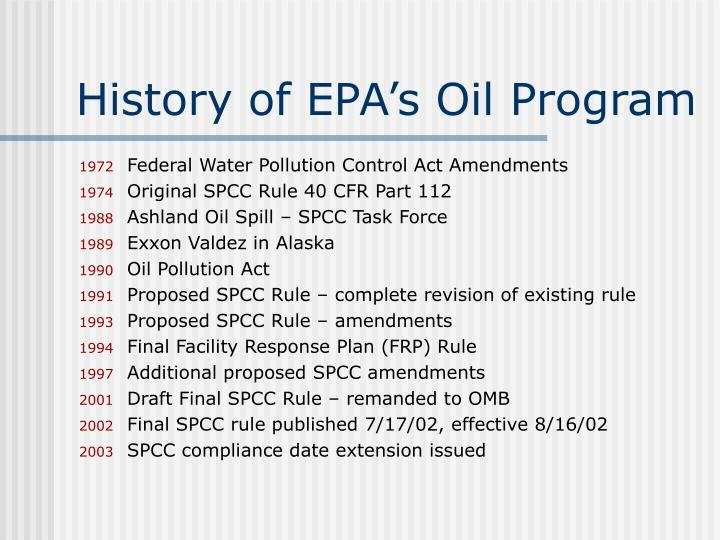 History of epa s oil program