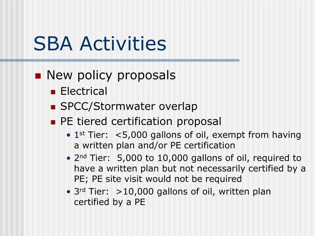 SBA Activities
