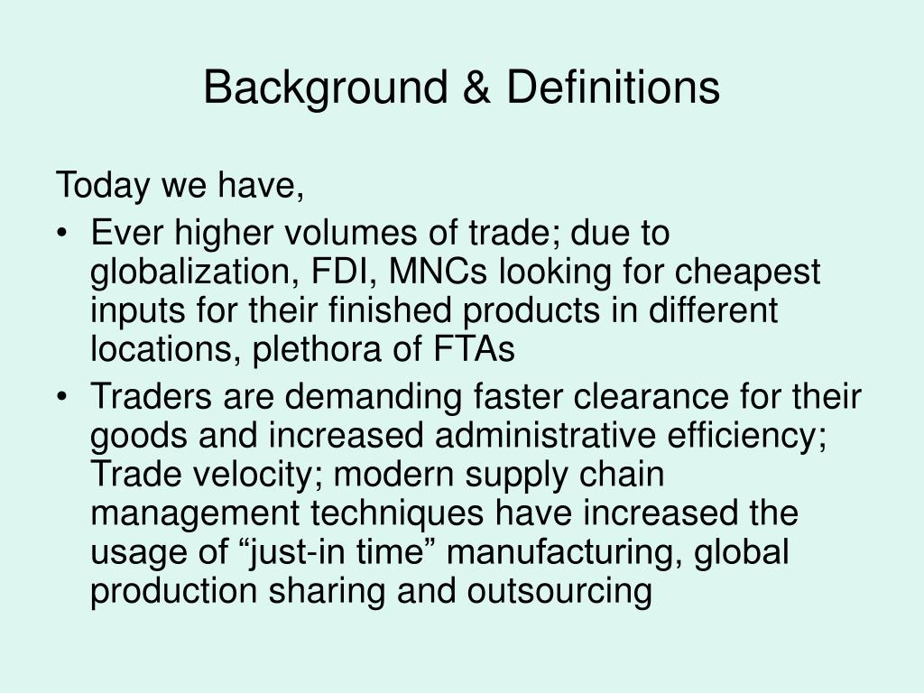 Background & Definitions