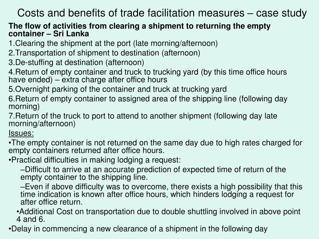 Costs and benefits of trade facilitation measures – case study