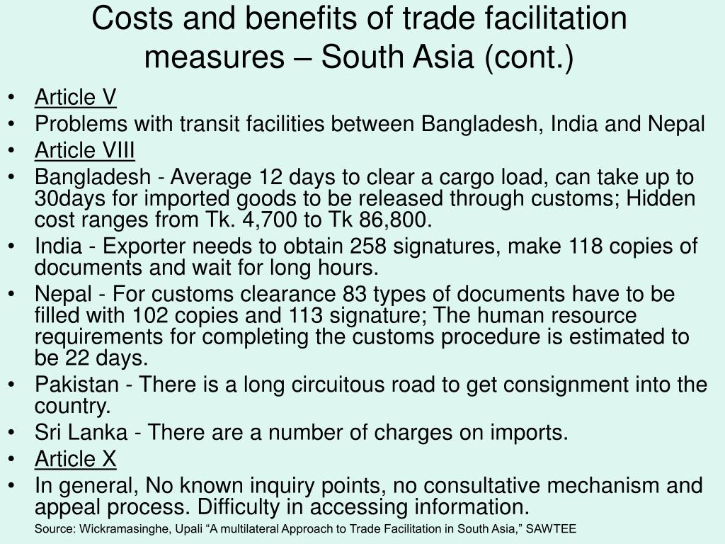 Costs and benefits of trade facilitation measures – South Asia (cont.)