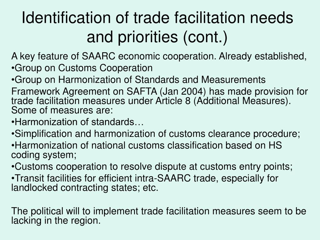 Identification of trade facilitation needs and priorities (cont.)
