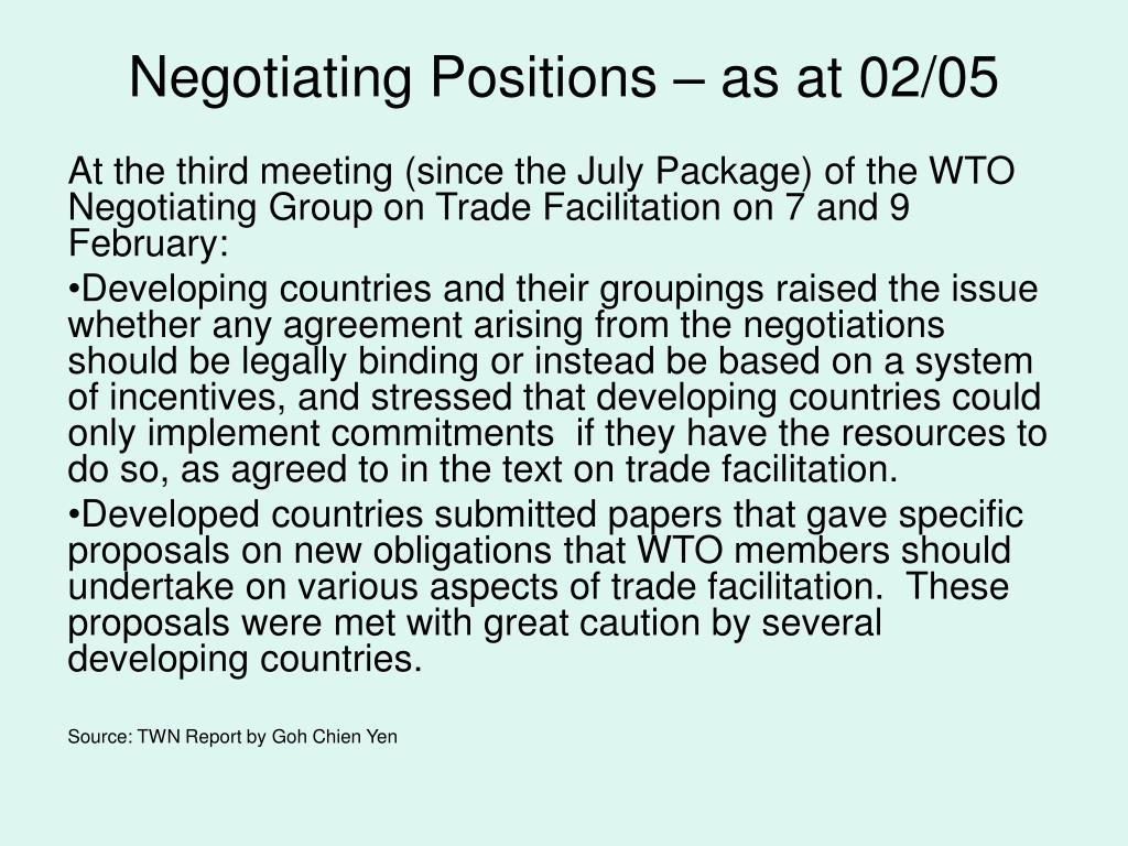 Negotiating Positions – as at 02/05