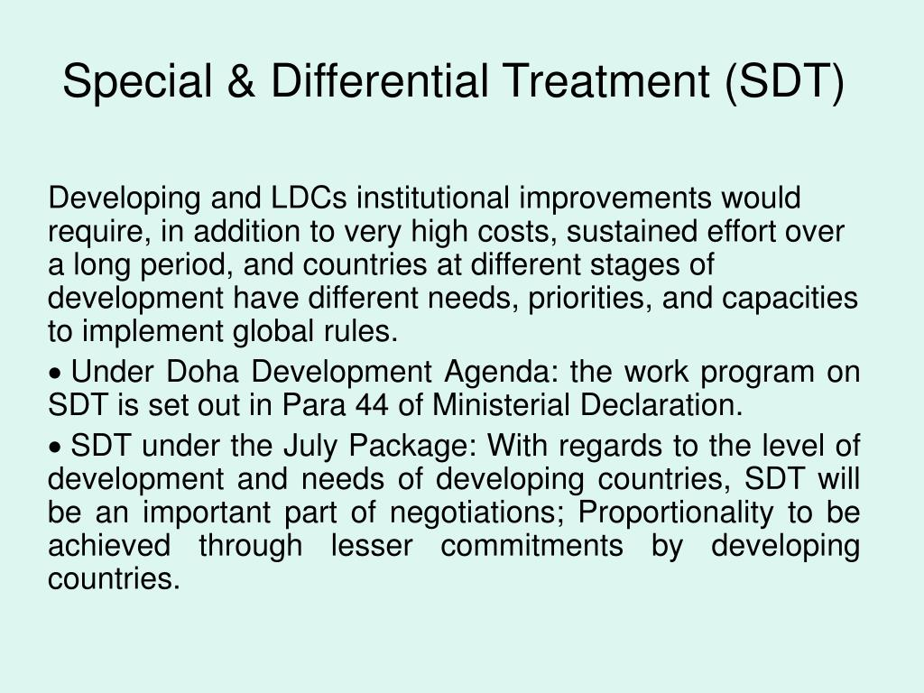 Special & Differential Treatment (SDT)