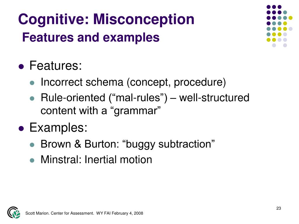 Cognitive: Misconception