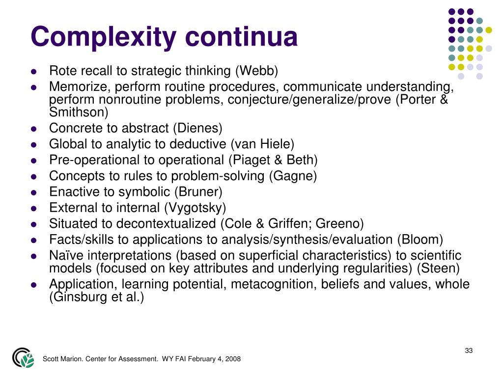 Complexity continua