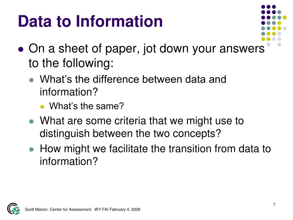 Data to Information