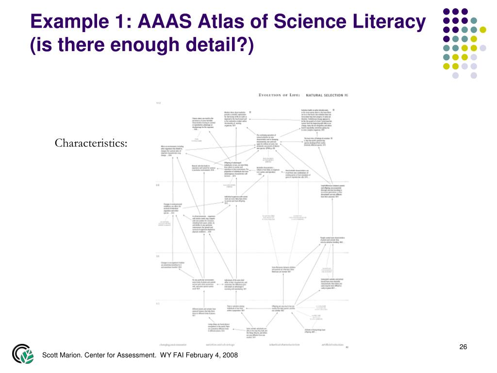 Example 1: AAAS Atlas of Science Literacy (is there enough detail?)
