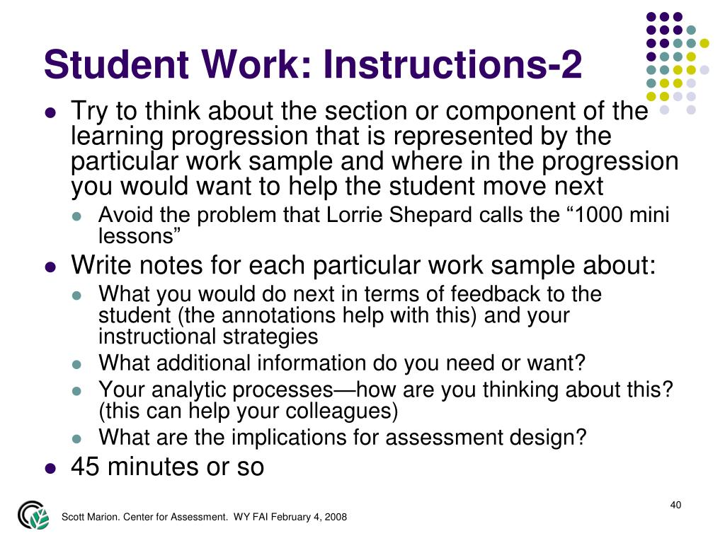 Student Work: Instructions-2