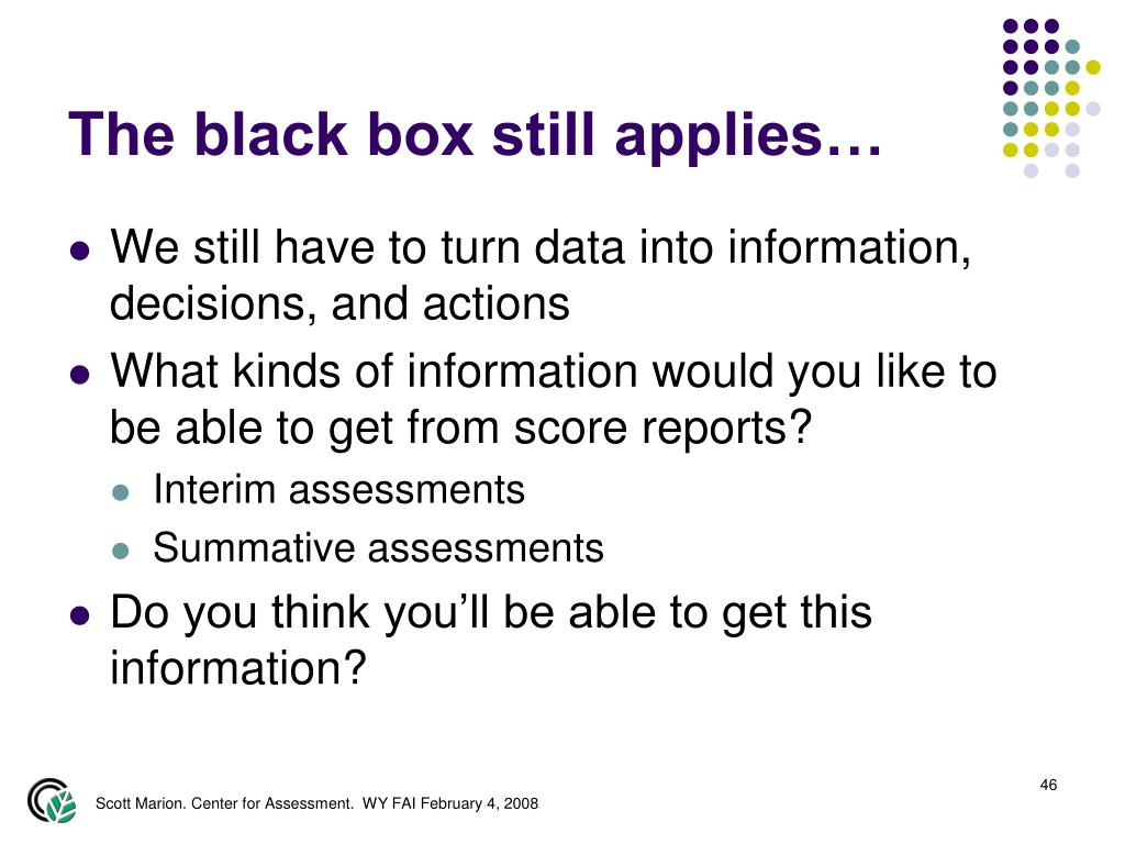 The black box still applies…