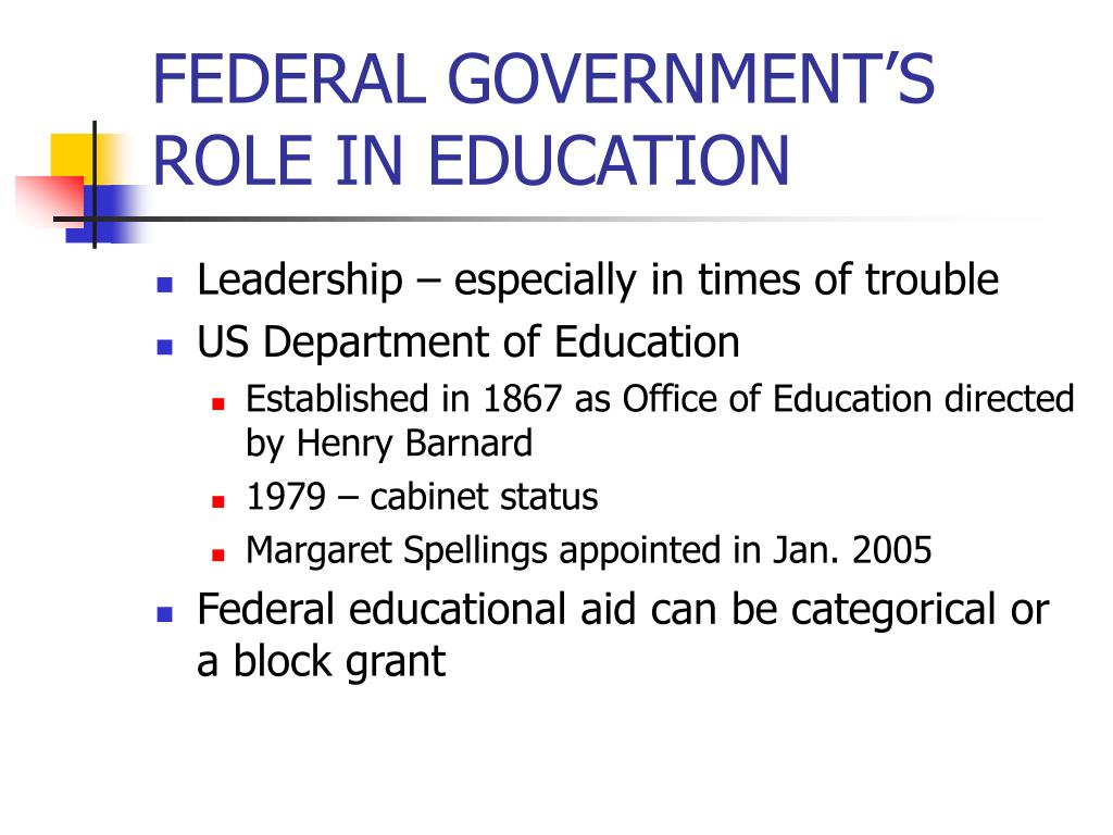 FEDERAL GOVERNMENT'S ROLE IN EDUCATION
