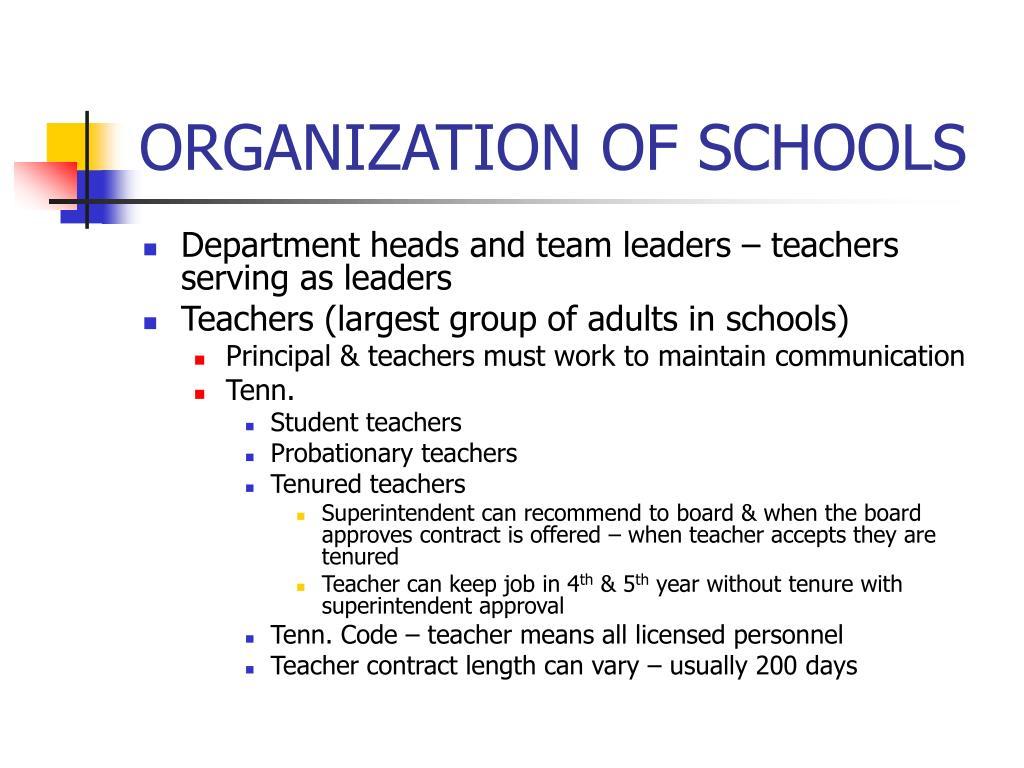 ORGANIZATION OF SCHOOLS