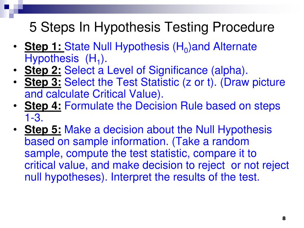 5 Steps In Hypothesis Testing Procedure